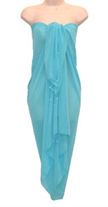 Turquoise SHEER Full Size Sarong With Beads