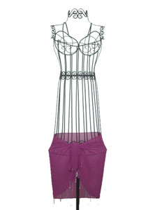 Purple SHEER Sarong With Beads
