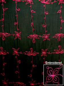 Embroidered Black Sarong with Pink