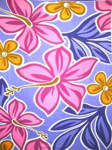 Light Purple Hand Drawn Sarong with Pink Flowers