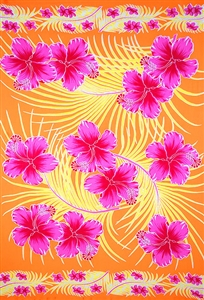 Orange with Pink Hibiscus and Yellow Palm Leaves