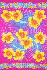 Pink Sarong with Yellow Hibiscus and Blue Palm Leaves