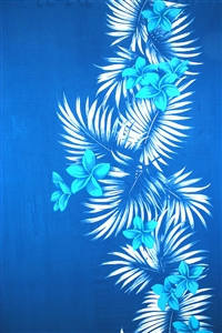 Blue Sarong with Blue Plumeria and Palm Fronds