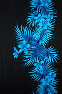 Black Sarong with Blue Plumeria and Palm Fronds