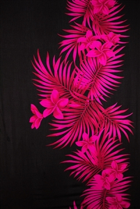 Black Sarong with Pink Plumeria and Palm Fronds