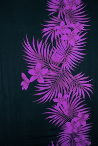 Black Sarong with Purple Plumeria and Palm Fronds