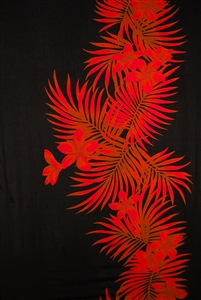Black Sarong with Red Plumeria and Palm Fronds