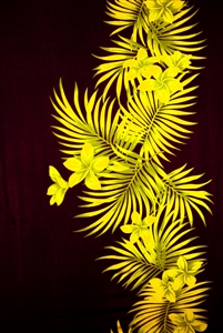 Black Sarong with Yellow Plumeria and Palm Fronds