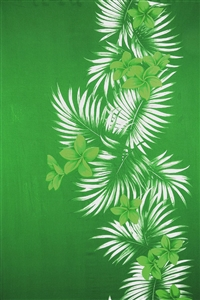 Green Sarong with Green Plumeria and Palm Fronds