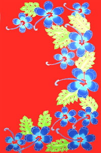 Hand Painted Fancy Red Sarong with Blue Hibiscus