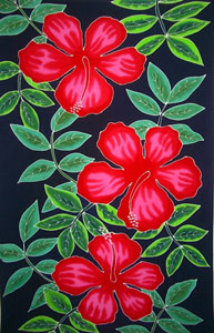 Hand Painted Fancy Sarong with Red Hibiscus