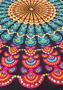 Mandala Sarong - Black With Multi Colors and Golden Sequins