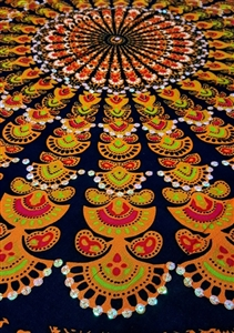 Mandala Sarong - Black With Orange & Opalescent Sequins