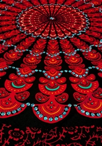 Mandala Sarong - Black With Red & Blue Sequins