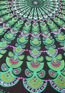 Mandala Sarong - Black With Turquoise and Purple Sequins