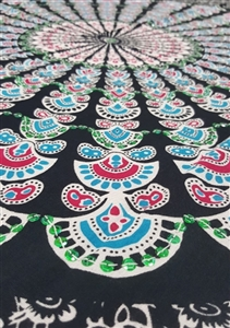 Mandala Sarong - Black With White and Green Sequins