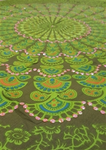 Mandala Sarong - Olive Green With Green and Opalescent Orange Sequins