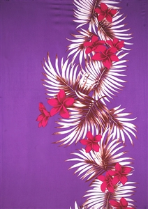 Purple Sarong with Pink Plumeria and Palm Fronds