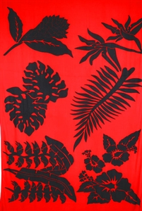 Plus Size Tahitian print sarong with a red background