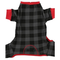 Lazy One Dog Grey Plaid Flapjack Onesie