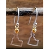 Down To Earth Sterling Silver Idaho Outline Dangle Earrings with 18k Gold Heart