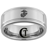 8mm Two-Grooved Tungsten Carbide with a Lasered Marines Eagle Globe and Anchor Design