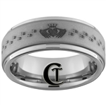 8mm 1-Step Pipe Tungsten Carbide Matte Finish Claddagh Celtic Ring Design