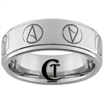 8mm Pipe One-Step Satin Finish Tungsten Atheist Ring