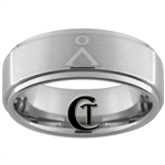 8mm Pipe One-Step Satin Finish Tungsten Stargate Earth Symbol Ring