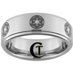 8mm One-Step Pipe Satin Finish Star Wars Galactic Empire Design Tungsten Carbide Ring.