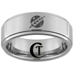 8mm One-Step Pipe Satin Finish Star Wars Jaster's Feather Design Tungsten Carbide Ring.