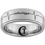 8mm One-Step Pipe Satin Finish Always EKG Design Tungsten Carbide Ring.