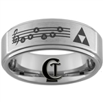 8mm 1-Step Pipe Tungsten Legend of Zelda Triforce & Song Of The Storms Designed Satin Center Ring