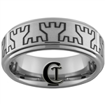 8mm One-Step Pipe Satin Finish Traditional Wedding Castle Towers Design Tungsten Carbide Ring.
