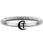 2mm Dome Tungsten Quote- The Love is Strong With This One Designed Ring.