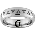 7mm Double Beveled Tungsten Carbide Zelda Design