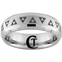7mm Satin Finish Double Beveled Tungsten Legend of Zelda Mulitiple Triforce Design Ring.