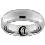 7mm Double Beveled Satin Finish Tungsten Carbide Wedding Ring.