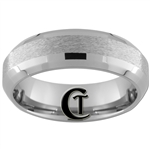 7mm Double Beveled Stone Finish Tungsten Carbide Wedding Ring.