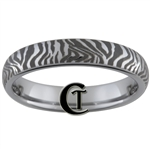 4mm Dome Tungsten Carbide Zebra Laser Design Ring.
