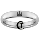 4mm Dome Tungsten Star Wars Rebel Alliance Design Ring.
