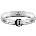 4mm Dome Tungsten Carbide Zelda Triforce Design