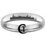 4mm Dome Tungsten Carbide Chicago Skyline Design Ring.