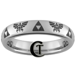 4mm Domed Tungsten Legend of Zelda Skyward Sword  Triforce Design Ring.