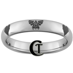 4mm Dome Tungsten Legend of Zelda Designed Polished Ring.