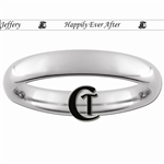 4mm Domed Tungsten Custom Names and Company Logo Design Ring.