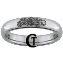 4mm Dome Tungsten Carbide  Doctor Who Gallifreyan and Quote Design Ring.