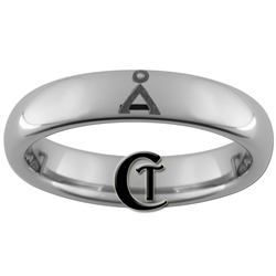 4mm Dome Tungsten Carbide Stargate Earth Origin Symbol Design Ring.