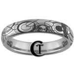 4mm Dome Tungsten Carbide Doctor Who Gallifreyan Design Ring.