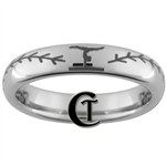 4mm Dome Tungsten Carbide Baseball Stitch Gymnastics Design Ring.